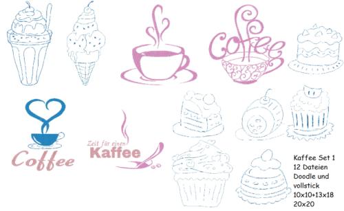 Stickdatei Kaffee Set